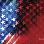 Vector of USA rising star with grunge texture effect background.