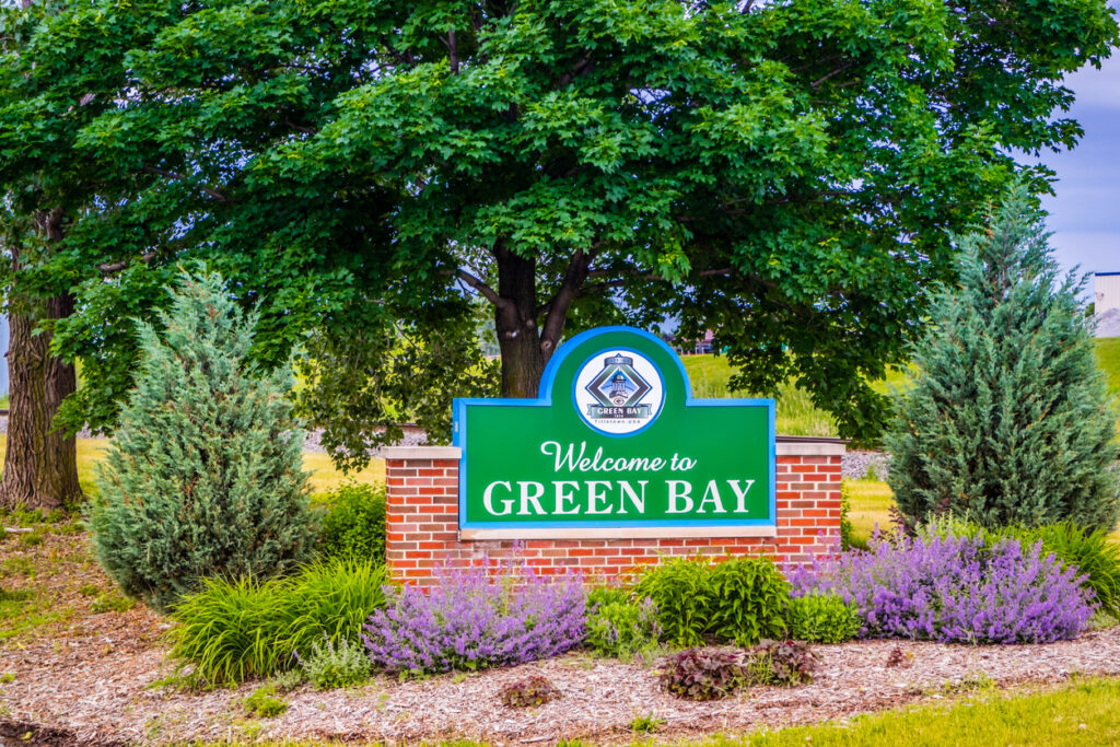 Green Bay, WI, USA - June 16, 2018: A welcoming signboard at the entry point of the preserve park