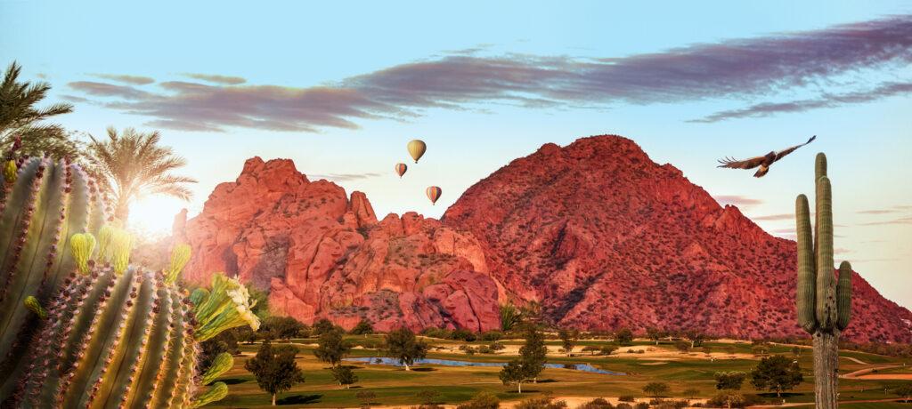 Travel scene of activities in Phoenix or Scottsdale, Arizona USA with Camelback mountain landmark. Horizontal web banner
