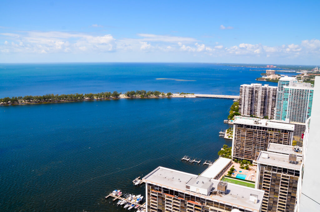 Overlooking Coral Gables coast line and Key Biscayne Bridge